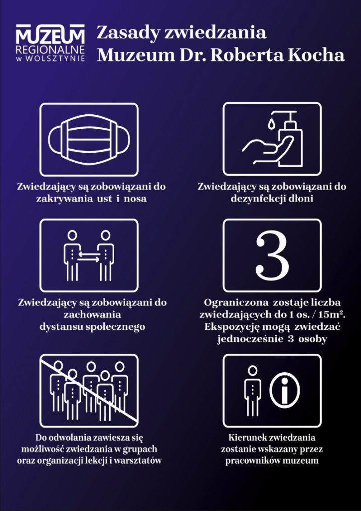 Muzeum Dr. Roberta Kocha – Zwiedzający są zobowiązani do zakrywania ust i nosa – Zwiedzający są zobowiązani do dezynfekcji dłoni – Zwiedzający są zobowiązani do zachowania dystansu społecznego – Ograniczona zostaje liczba zwiedzających do 1 os. / 15m2. Ekspozycję mogą zwiedzać jednocześnie 3 osoby – Do odwołania zawiesza się możliwość zwiedzania w grupach oraz organizacji lekcji i warsztatów – Kierunek zwiedzania zostanie wskazany przez pracowników muzeum
